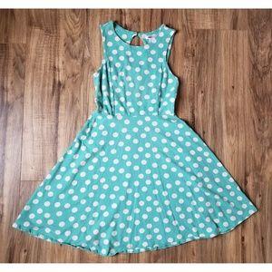 Xhileration Polka Dot Fit & Flare Dress